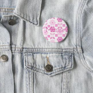 Retro rosa Blumen-Abzeichen Runder Button 5,7 Cm