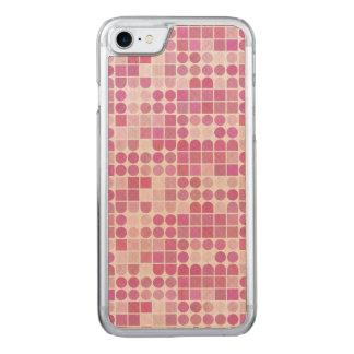 Retro rosa geometrisches strukturiertes Muster Carved iPhone 8/7 Hülle