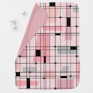 Retro rosa Gitter-und Sternexplosion-Baby-Decke Kinderwagendecke