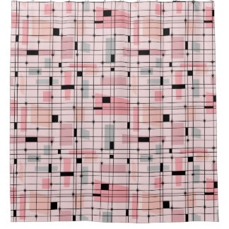 Retro rosa Gitter-und Sternexplosion-Duschvorhang Duschvorhang