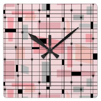 Retro rosa Gitter und Sternexplosion-quadratische Quadratische Wanduhr