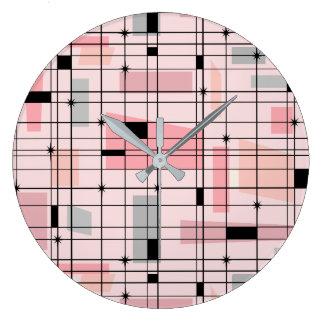 Retro rosa Gitter und Sternexplosion-runde Große Wanduhr