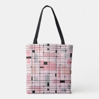 Retro rosa Gitter-und Tasche
