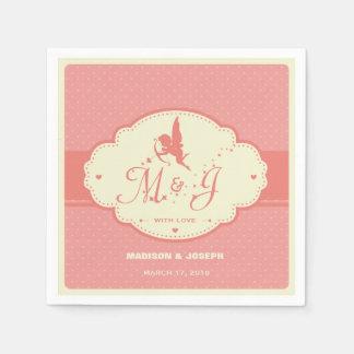 Retro rosa Hochzeitsserviette mit Amor-Silhouette Papierserviette
