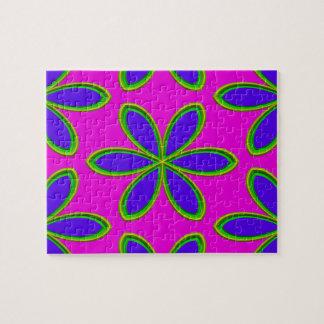 Retro rosa lila psychedelische Blumen Puzzle