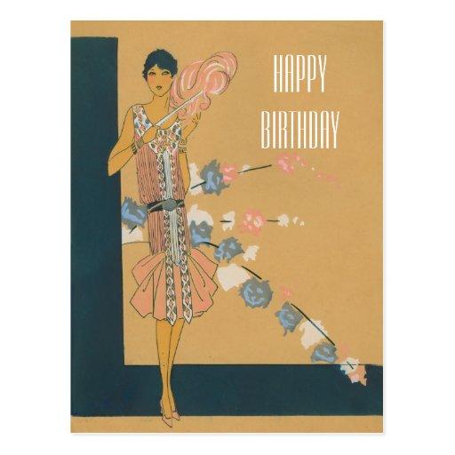 Retro rosa Mode und Federn Postkarte