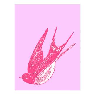 Retro rosa Schwalbe Postkarte