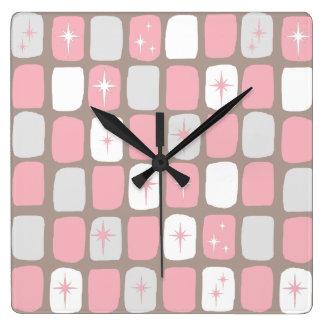 Retro rosa Sternexplosion-quadratische Wand-Uhr Quadratische Wanduhr