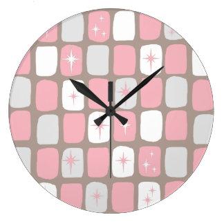 Retro rosa Sternexplosion-runde Wand-Uhr Große Wanduhr