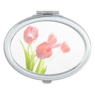 Retro rosa Tulpe-Blume Vertrags-Spiegel Taschenspiegel