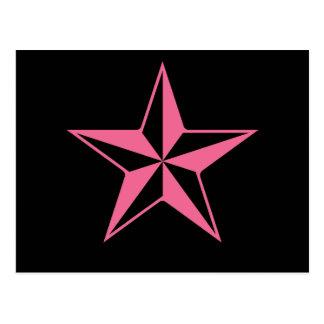 Retro rosa und schwarze Sterne Postkarte