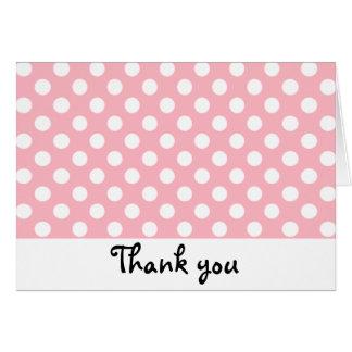 Retro rosa und weißer Tupfen danken Ihnen Karte