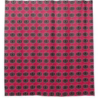 Retro-Rot-Schwarz-Stilvoll-Mod-Bad-Dekor Duschvorhang