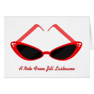 Retro rote Katzenaugen-Sonnenbrille Notecard Karte