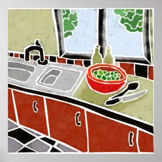 Retro rote Küche Poster
