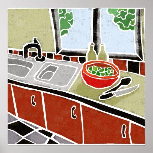 Retro rote Küche Posterdrucke