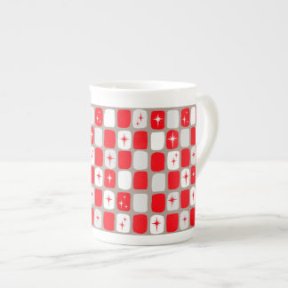 Retro rote Sternexplosion-Knochen-China-Tasse Porzellantasse