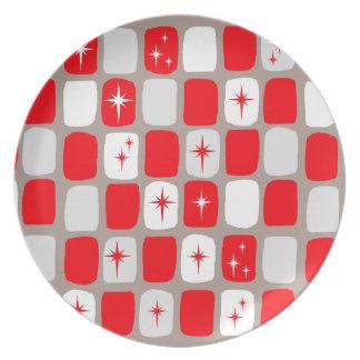 Retro rote Sternexplosion-Melamin-Platte Teller