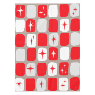 Retro rote Sternexplosion-Tischdecke (großer Tischdecke