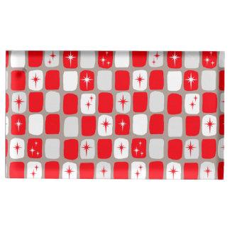 Retro roter Sternexplosion-Tabellen-Kartenhalter Tischnummernhalter
