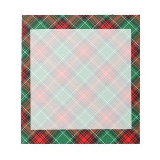 Retro roter und grüner Feiertags-karierter Notizblock