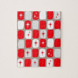 Retro rotes Sternexplosion-Puzzlespiel Puzzle