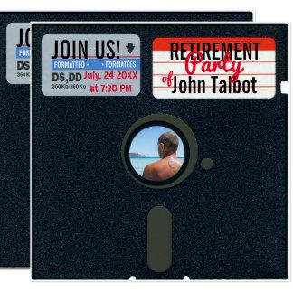 Retro Ruhestands-Party der Diskette-5,25 laden ein Quadratische 13,3 Cm Einladungskarte