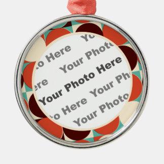 Retro runde Foto-Verzierung Rundes Silberfarbenes Ornament