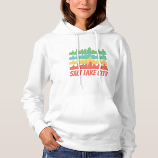 Retro Salt Lake City UT Skyline-Pop-Kunst Hoodie