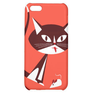 Retro Sassy Katze in rotem Speck iPhone Kasten iPhone 5C Cover