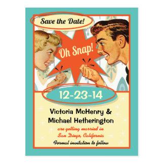Retro Save the Date Postkarte