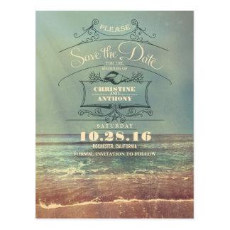 Retro Save the Date Postkarten der Strandhochzeit