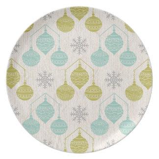 Retro Schneeflocke und Verzierung - Platte Flache Teller