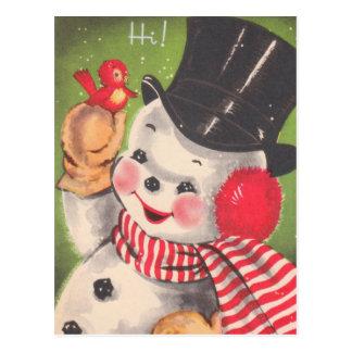 Retro Schneemann-Weihnachten Postkarte