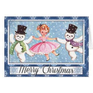 Retro Schneemann-Weihnachtskarte Karte