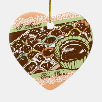 Retro Schokolade Bon Bonssüßigkeit Keramik Herz-Ornament