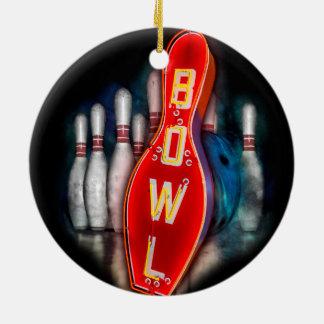 Retro Schüssel mit Bowlings-Buttonen und -ball Keramik Ornament