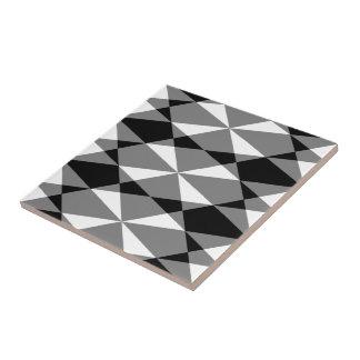 Retro Schwarz-weißer Dreieck-Diamant quadriert Keramikfliese