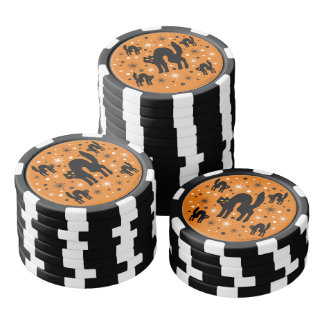 Retro schwarze Katzen-Fantasie mit Poker Chip Set