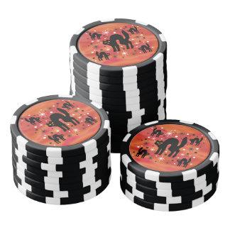 Retro schwarze Katzen-Fantasie mit Pokerchips