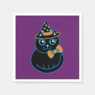 Retro schwarze Katzen-Halloween-Party-Servietten Papierservietten