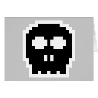 Retro schwarzer 8-Bitschädel Karte