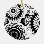 Retro schwarzer u. weißer weihnachtsbaum ornamente
