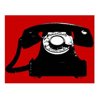 Retro schwarzes Telefon Postkarte