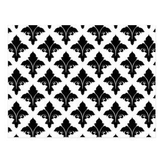 Retro Schwarzweiss-Blumenmuster Postkarte