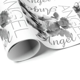 Retro Schwarzweiss-Monogramm des Schutzengels Geschenkpapier