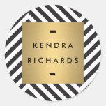 Retro Schwarzweiss-Muster-Goldnamen-Logo Runde Sticker