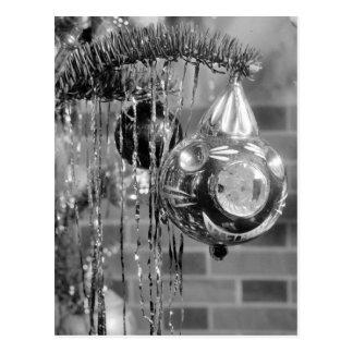 Retro Schwarzweiss-Weihnachtsbaum-Fotografie Postkarte