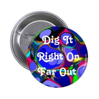 Retro Sechzigerjahre abstrakter Knopf Runder Button 5,7 Cm