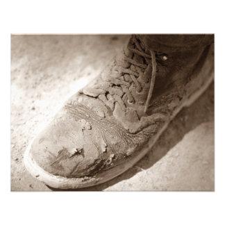 Retro Sepia getragene Arbeits-Stiefel-Ruhestands-E Ankündigungen